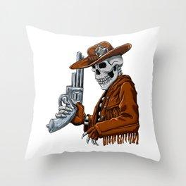 Skull cowboy.Skeleton Throw Pillow