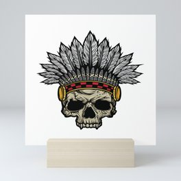 Indian Warrior Skull Is Ready For Battle With His Feathered Headdress And War Paint T-shirt Design Mini Art Print