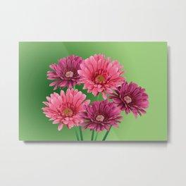 five Gerbra Flowes pink Metal Print