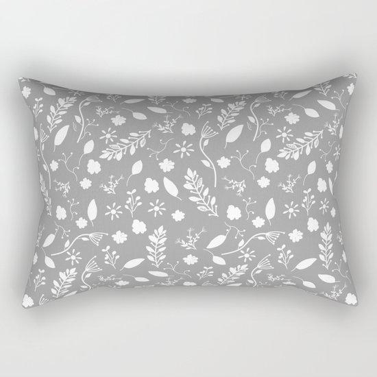 Floral Grey White Rectangular Pillow