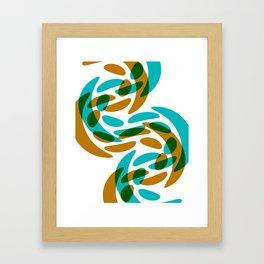 Green Aqua Gold Faux Lace Pattern On White Framed Art Print