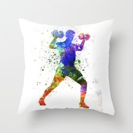 Man exercising weight training Throw Pillow