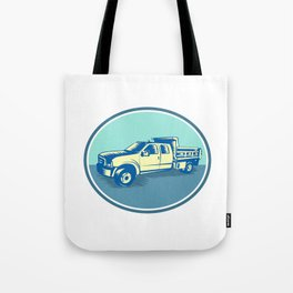 Tipper Pick-up Truck Oval Woodcut Tote Bag