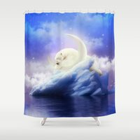 cartoons Shower Curtains featuring Guard Your Heart. Protect Your Dreams. (Polar Moon) by soaring anchor designs
