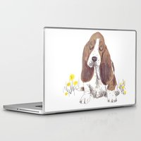 the hound Laptop & iPad Skins featuring Basset Hound by jo clark