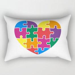 Autism Awareness Heart Colorful Puzzle Pieces Rectangular Pillow