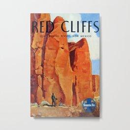 Red Cliffs Vintage Travel Poster Metal Print