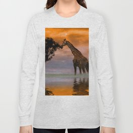 Giraffe at Sunset Long Sleeve T-shirt