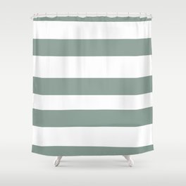 Valspar America Sea Green - Green Water - Zinc Blue Hand Drawn Fat Horizontal Stripes on White Shower Curtain