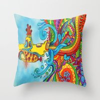 yellow submarine Throw Pillows featuring The Yellow Submarine by Nick Swann