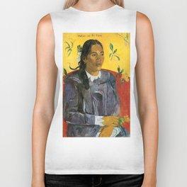 Tahitian Woman with a Flower by Paul Gauguin Biker Tank