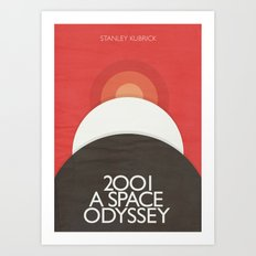 2001 A Space Odyssey - Stanley Kubrick movie Poster, Red Version Art Print