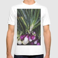 Red Onions in the Garden White MEDIUM Mens Fitted Tee