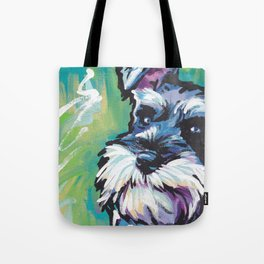 Fun Schnauzer Dog Portrait bright colorful Pop Art Painting by LEA Tote Bag