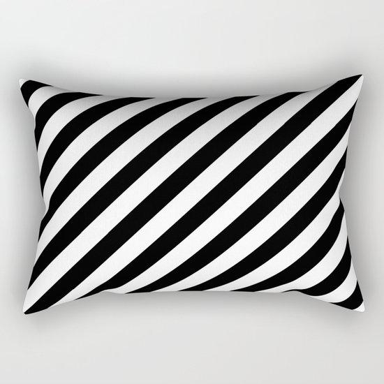 Diagonal Stripes (Black/White) Rectangular Pillow