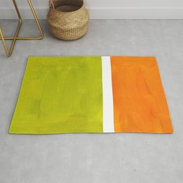 Retro Lime Green Minimalist Abstract Color Block Rothko Midcentury Modern Art Rug
