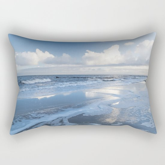 Cold day at the beach - Ocean blue on #Society6 Rectangular Pillow