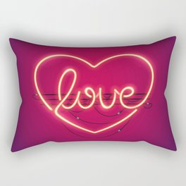 Love Heart Neon Sign Rectangular Pillow