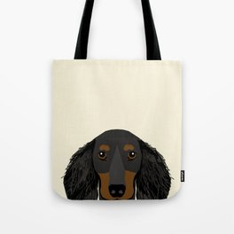Doxie Portrait - Black and Tan Longhaired dog design - cute dachshund face Tote Bag