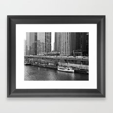 Boat on the Chicago River -- Downtown Chicago -- Black and White Photograph Framed Art Print