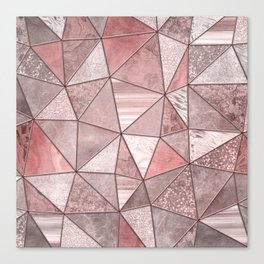 Soft Pink Coral Glamour Gemstone Triangles Canvas Print