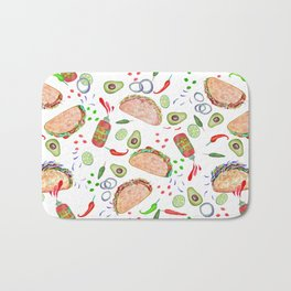 "Tacos are ""Hot Stuff"" and we love them! Bath Mat"