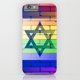Gay Rainbow Wall Israel Flag iPhone Case