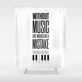 Lab No. 4 - Friedrich Nietzsche Quote life music typography poster Shower Curtain