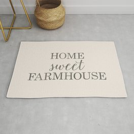 Home Sweet Farmhouse, Rustic Farmhouse Style Word Art, Home Sweet Home Rug