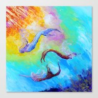 mermaids Canvas Prints featuring Mermaids by Marionette Taboniar