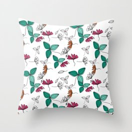 Retro floral pattern Rustic small flowers kids fun cute Throw Pillow