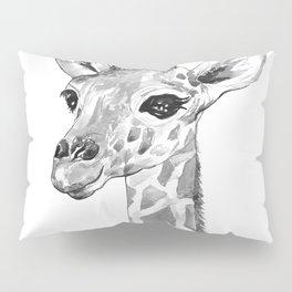 baby giraffe, black and white Pillow Sham