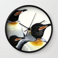 penguins Wall Clocks featuring Penguins by Regan's World