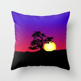 Sunset Bonsai Silhouette Throw Pillow