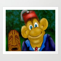 fez Art Prints featuring Chimp In A Fez by Gene S Morgan