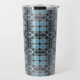 Blue and White Mosaic Kolam Travel Mug