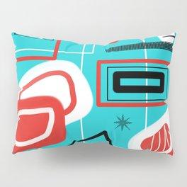 Turquoise Red Black Mid Mod Print Pillow Sham