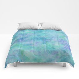 Teal and Blue Tropical Marble Watercolor Texture Comforters