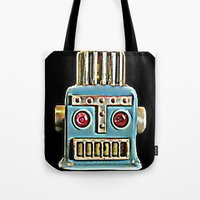 robot Tote Bags featuring Robot by Silvio Ledbetter