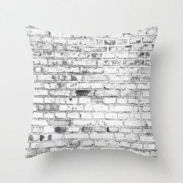 Withe brick wall Throw Pillow
