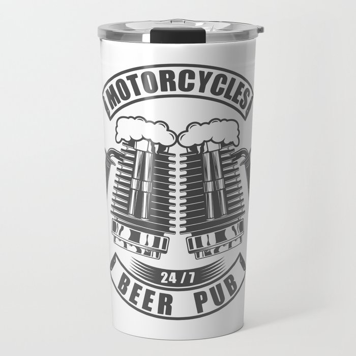 Beer pub emblem in vintage monochrome motorcycle style Travel Mug