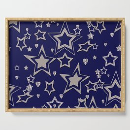 Holiday decor, shiny stars ,Christmas Serving Tray