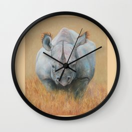 RHINOCEROS Wildlife African animal Safari style Realistic pastel drawing Wall Clock
