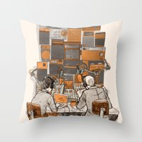 lab Throw Pillows featuring Radio Lab by Bony Fingers