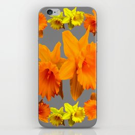 YELLOW-GOLD SPRING DAFFODILS & CHARCOAL GREY COLOR iPhone Skin