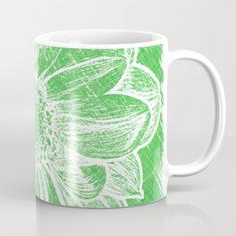 White Flower On Tech Green Crayon Coffee Mug