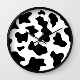 black and white ranch farm animal cowhide western country cow print Wall Clock