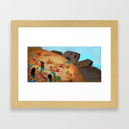 Happy children with Painted birds children's book Illustration Framed Art Print