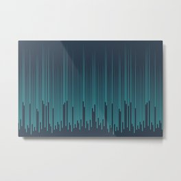 Aqua Teal Turquoise Solid Color Minimal Frequency Line Art Pattern on Navy Blue - Aquarium SW 6767 Metal Print