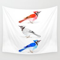 jay fleck Wall Tapestries featuring Red jay, white jay, blue jay. by The animals moved to - society6.com/dian